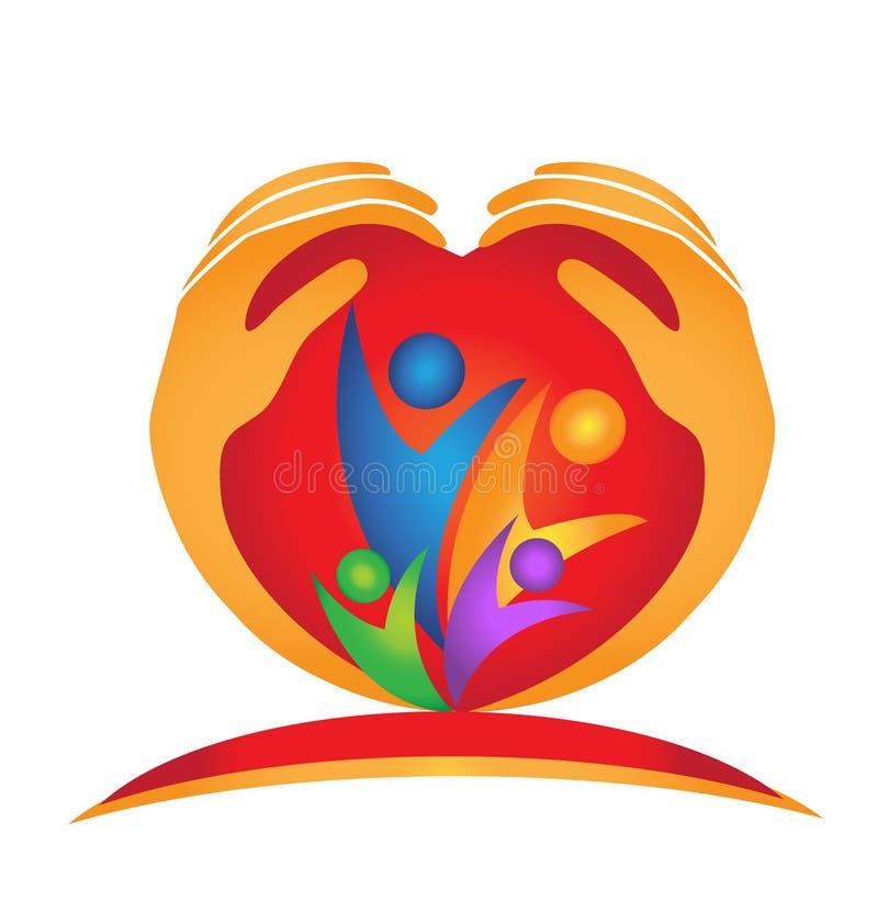 Coração e mãos da família ilustração royalty free