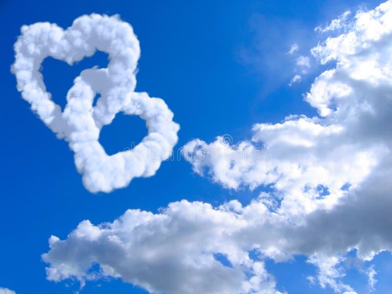 Coração e nuvens foto de stock royalty free