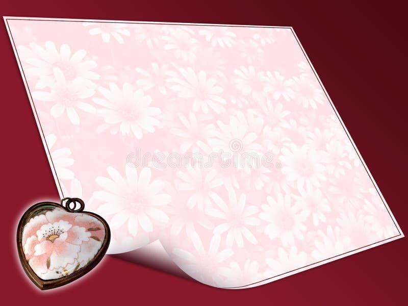 Coração e papel de letra floral ilustração stock