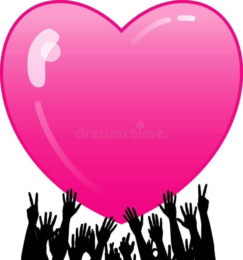 Coração e projeto das mãos ilustração stock