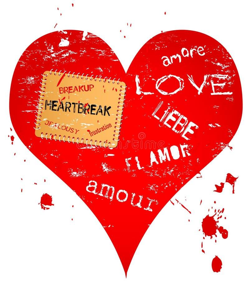 Coração e projeto do amor ilustração stock