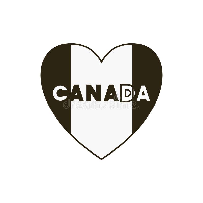 Coração e projeto do símbolo de Canadá ilustração stock
