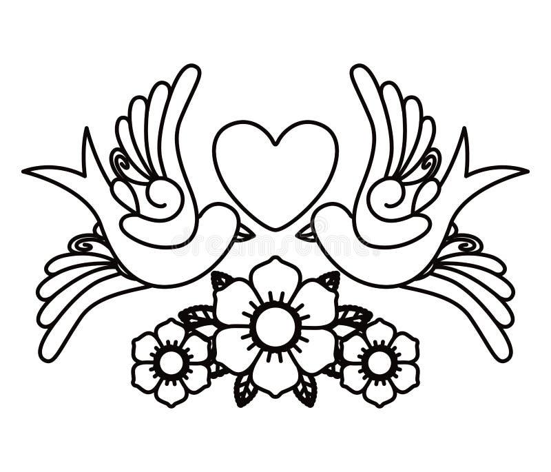 Coração e projeto isolado tatuagem do ícone dos pássaros ilustração do vetor