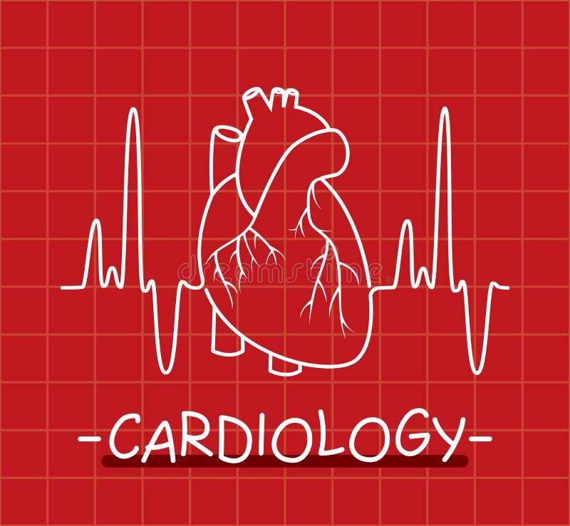 coração e pulsação do coração humanos ilustração royalty free