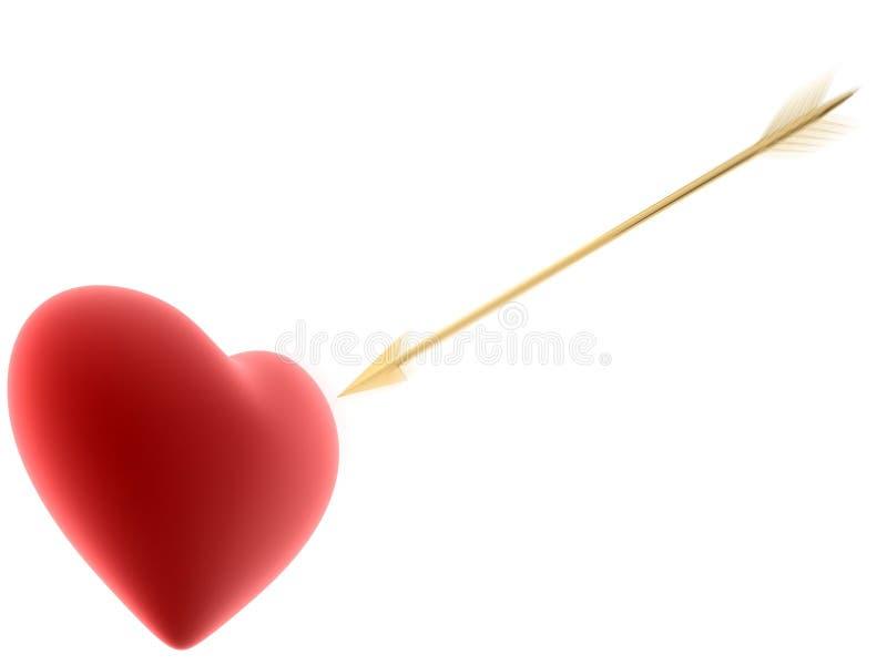 Coração e seta ilustração do vetor