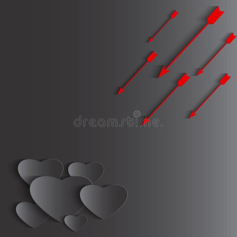 Coração e seta, fundo do feriado do dia de Valentim, molde dos cartões ilustração stock