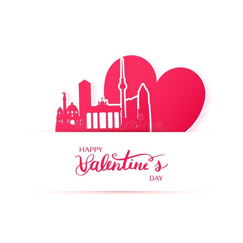Coração e silhueta vermelhos da cidade de Berlim, etiquetas de papel ilustração royalty free