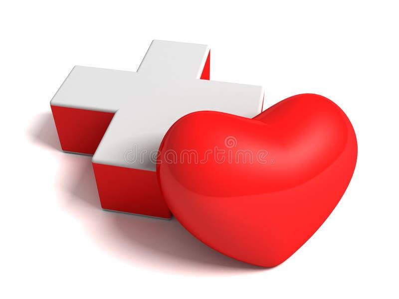 Coração e sinal transversal médico no branco ilustração do vetor