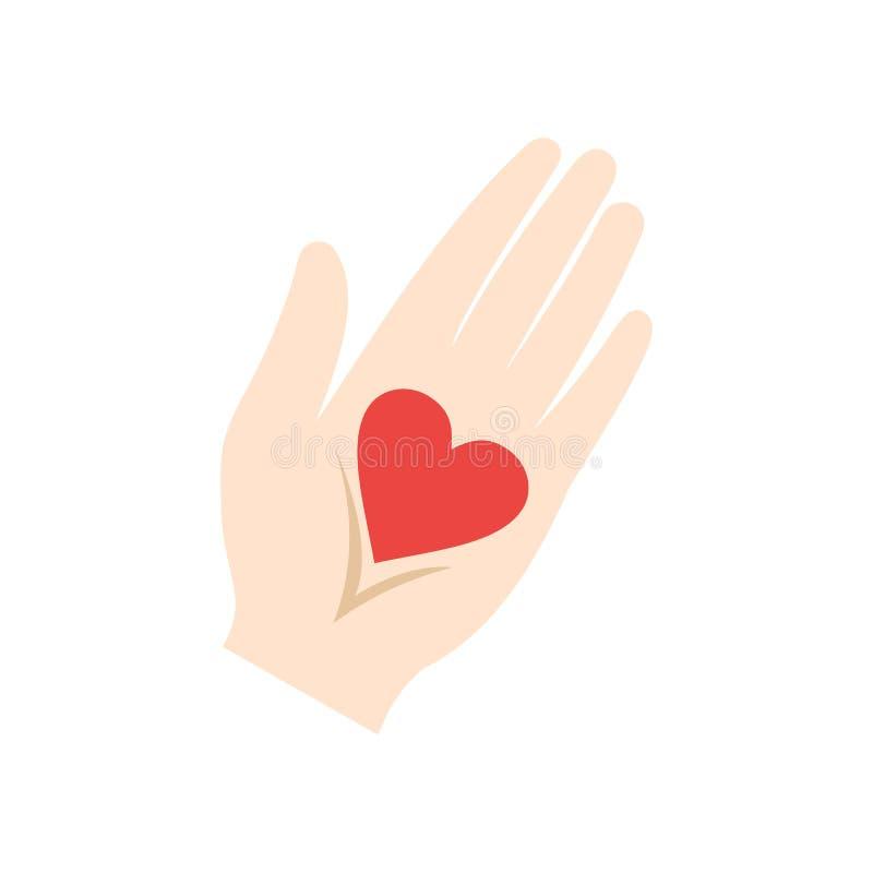 Coração em um ícone liso da mão ilustração royalty free