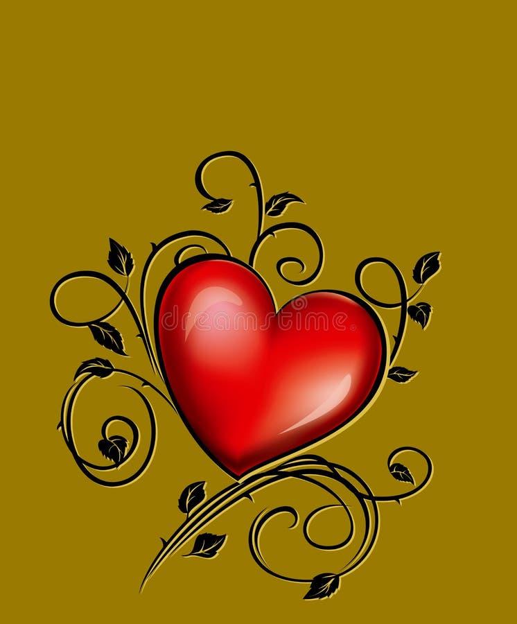 Coração em um fundo de bronze ilustração do vetor