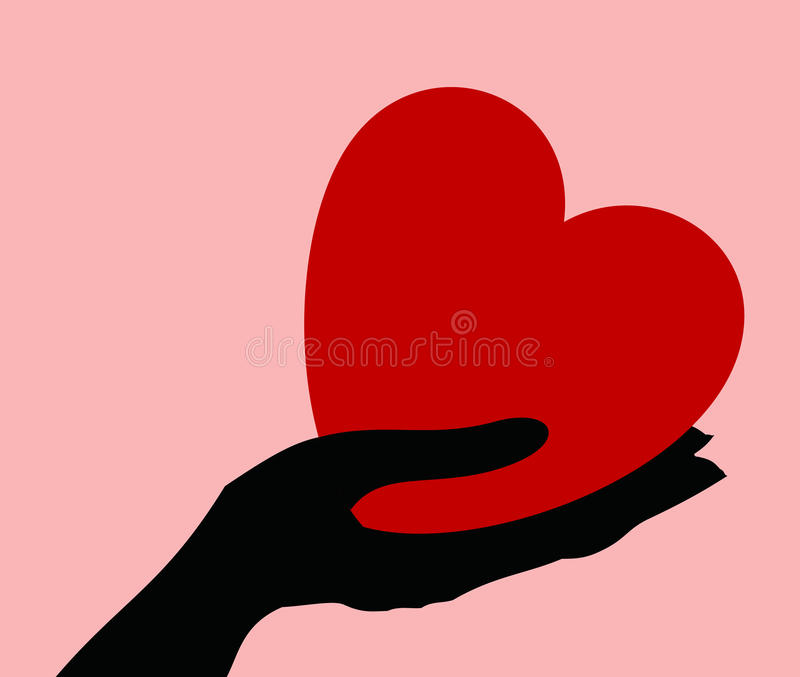 Coração em uma mão ilustração do vetor