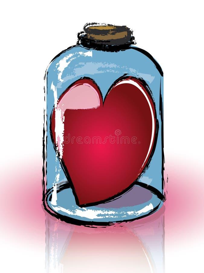 Coração encarcerado em um frasco ilustração do vetor