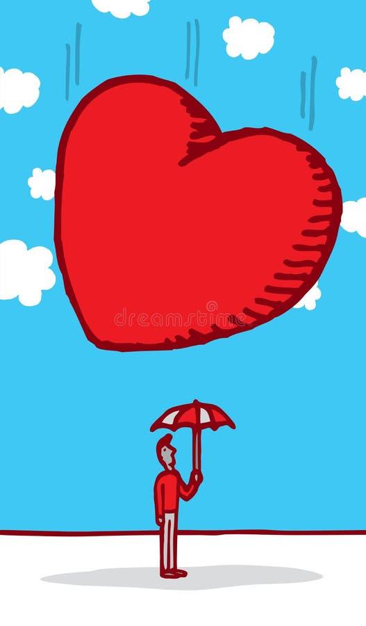 Coração enorme que cai na cabeça inocente do indivíduo ilustração royalty free