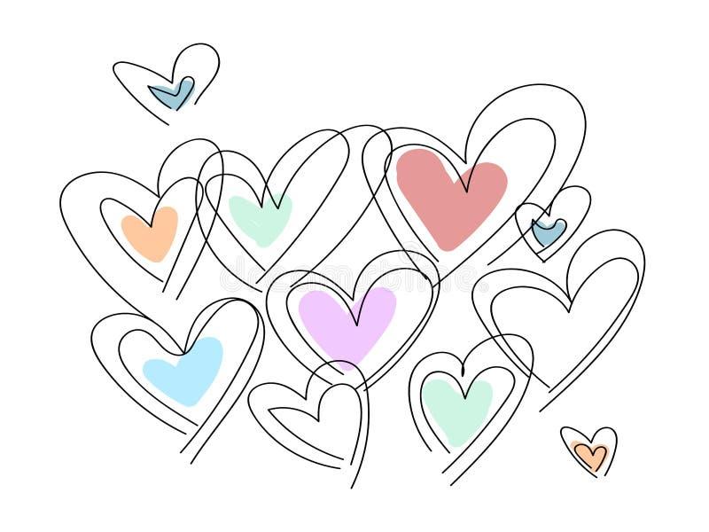 Coração esboçado tirado mão da garatuja ilustração royalty free