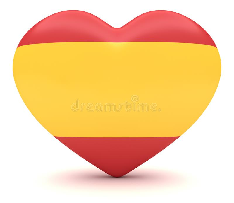 Coração espanhol da bandeira, ilustração 3d ilustração stock