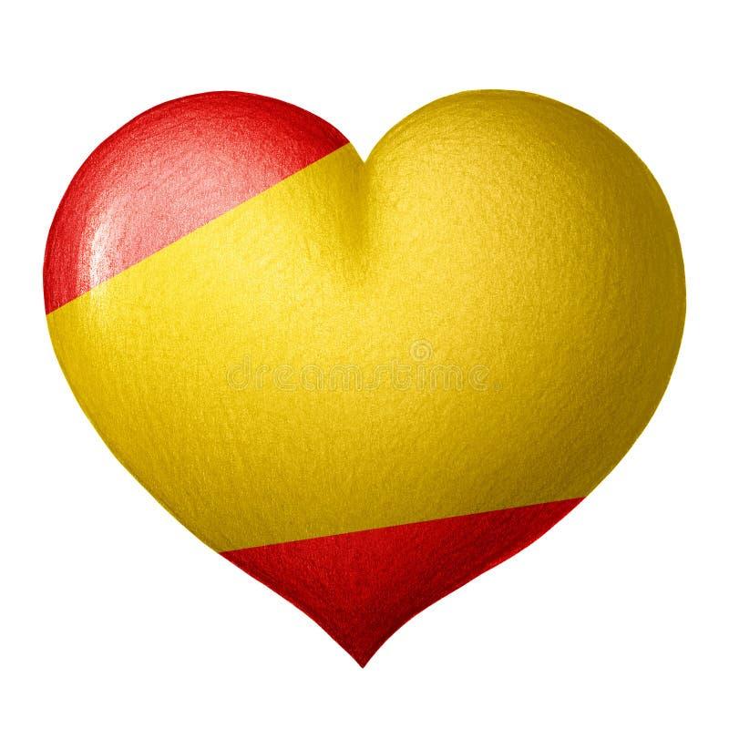 Coração espanhol da bandeira isolado no fundo branco ilustração do vetor