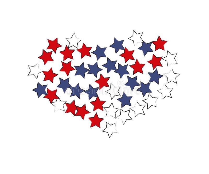 Coração estrelado Projeto do vetor ilustração stock