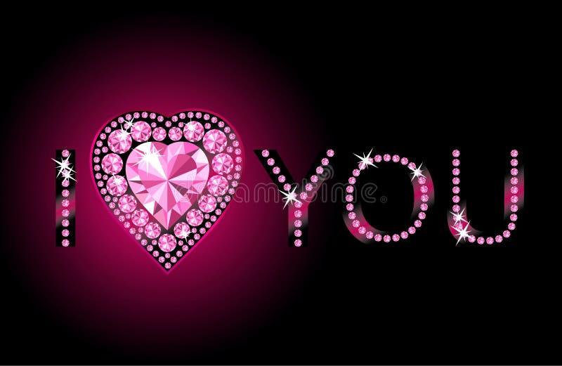 Coração eu te amo/diamante/fundo do vetor ilustração do vetor