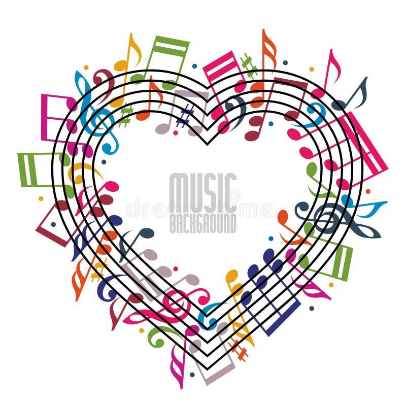 Coração feito com notas musicais e clave ilustração do vetor