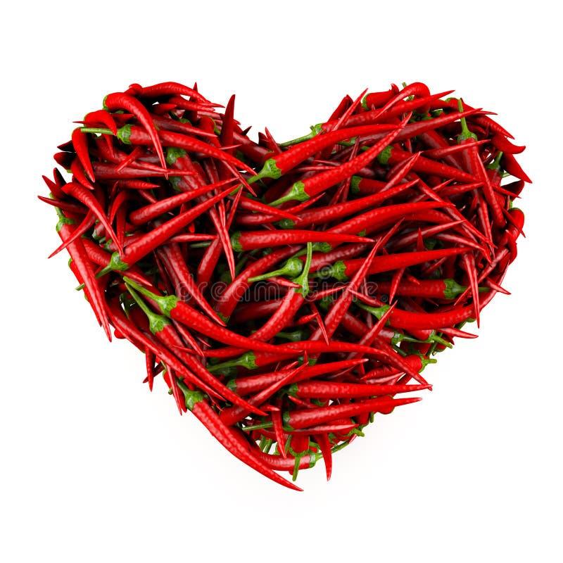 Coração feito da pimenta de pimentão. ilustração stock
