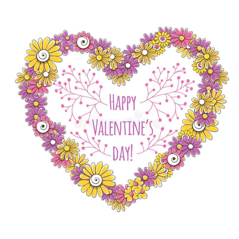 Coração feito das flores ilustração royalty free