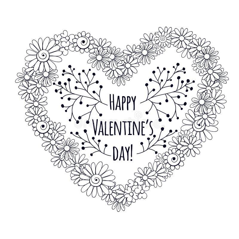 Coração feito das flores ilustração do vetor