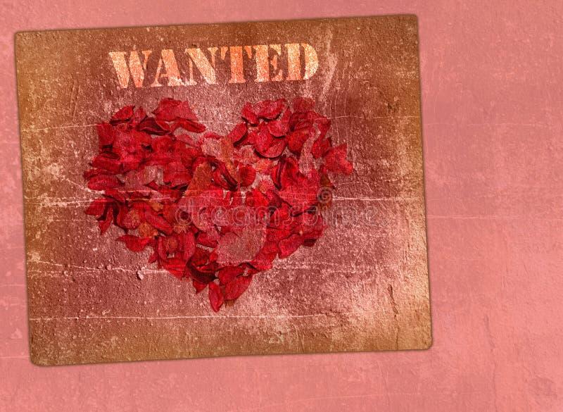 Coração feito das pétalas das rosas em um fundo ilustração royalty free