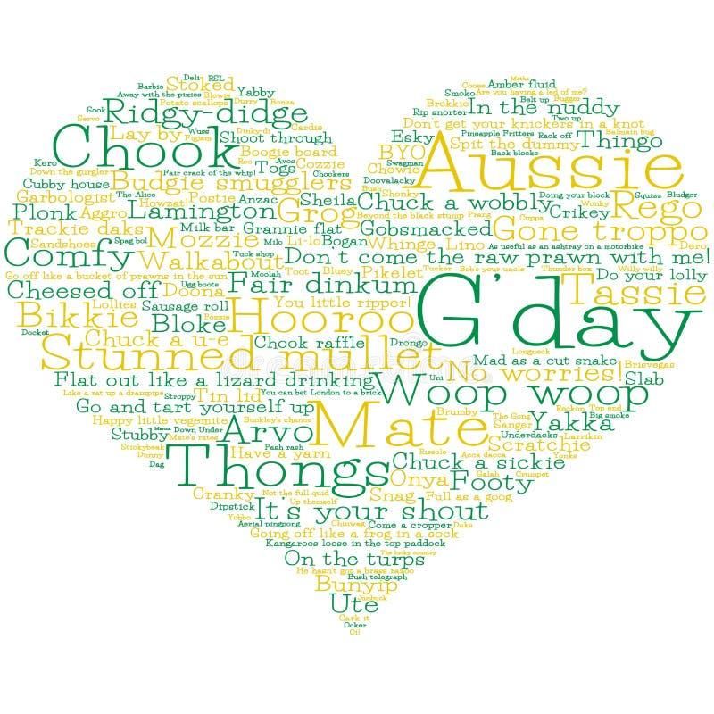Coração feito das palavras de calão australianas ilustração royalty free