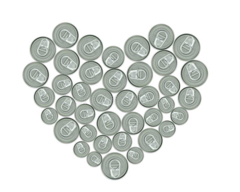 Coração feito de latas do metal para recicl fotografia de stock royalty free