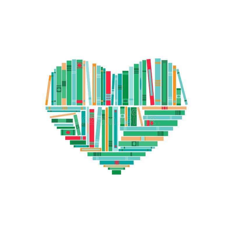 Coração feito de livros verdes, azuis e vermelhos Isolado no fundo branco ilustração do vetor