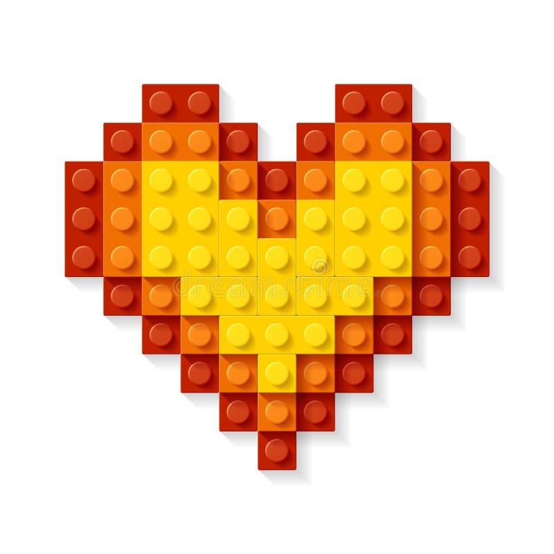 Coração feito dos blocos plásticos ilustração do vetor