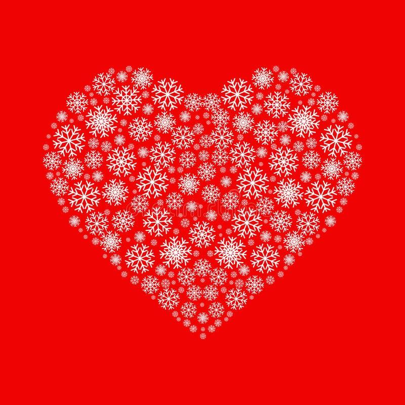 Coração feito dos flocos de neve brancos no fundo vermelho Ícone liso do vetor Pode ser usado para o Natal, o ano novo e o dia de ilustração stock