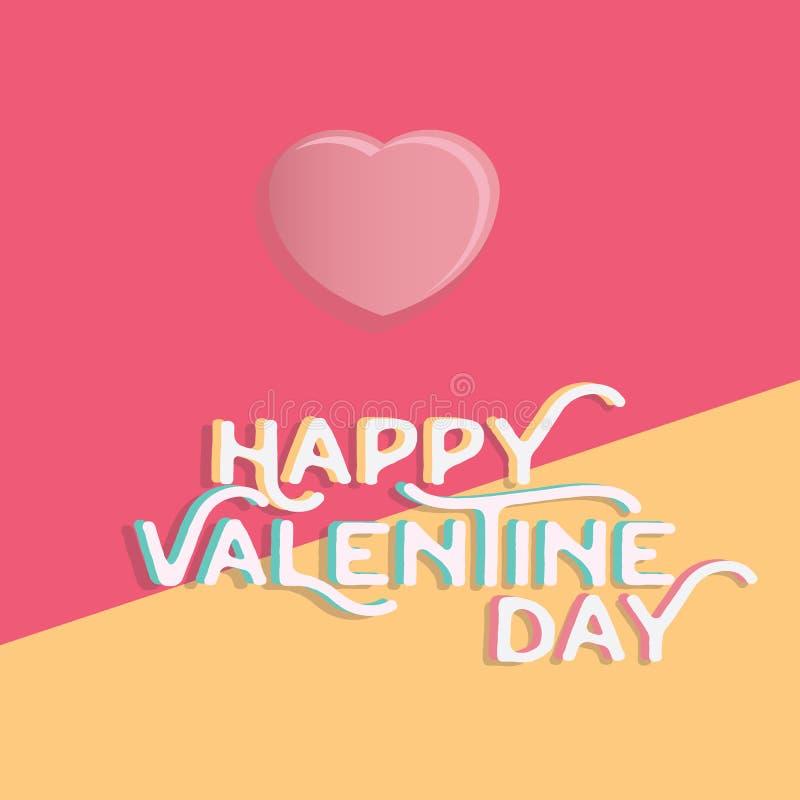 Coração feliz do dia do ` s do Valentim, cumprimentando o holid feliz do dia de são valentim ilustração stock