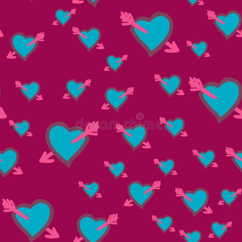Coração ferido Dia de Valentim, vintage sem emenda dos corações do projeto do casamento Vetor da garatuja do desenho da mão Amor, ilustração stock