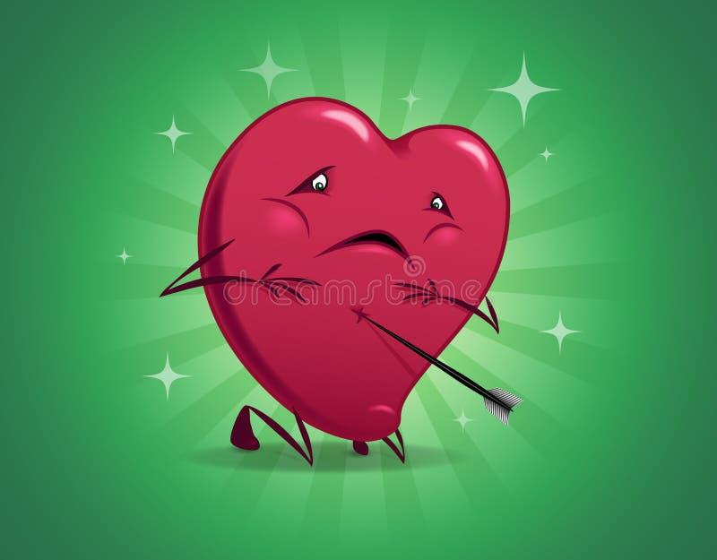Coração ferido do Valentim. ilustração do vetor
