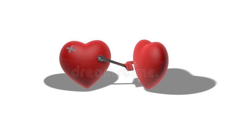 Coração ferido tridimensional ilustração do vetor