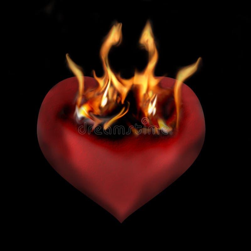Coração flamejante ilustração royalty free