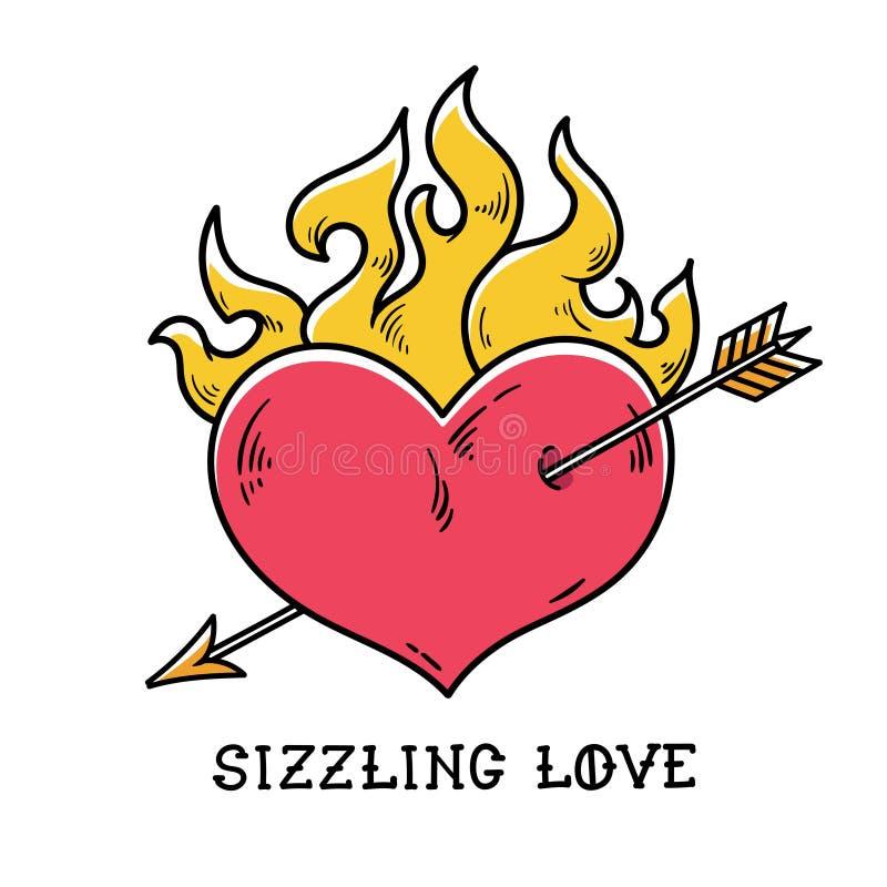 Coração flamejante da tatuagem perfurado pela seta do ouro Amor crepitante Coração ardente vermelho Coração apaixonado A velha es ilustração royalty free
