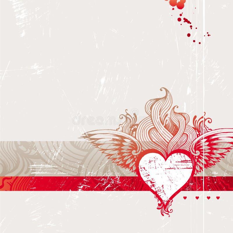 Coração flamejante desenhado mão do vintage ilustração stock