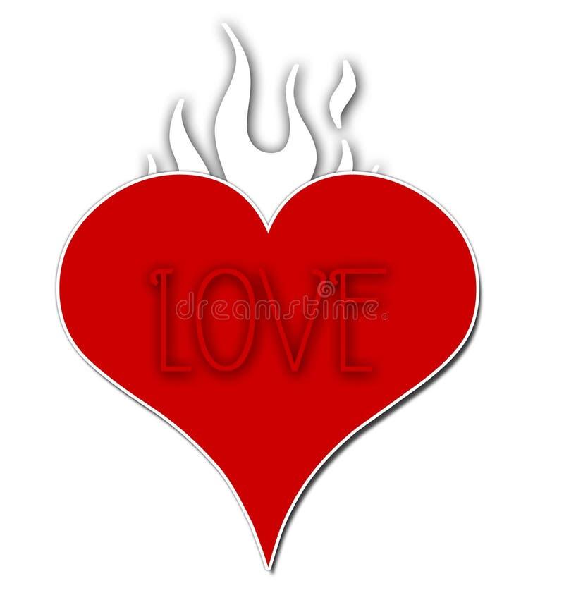 Coração flamejante do amor ilustração stock