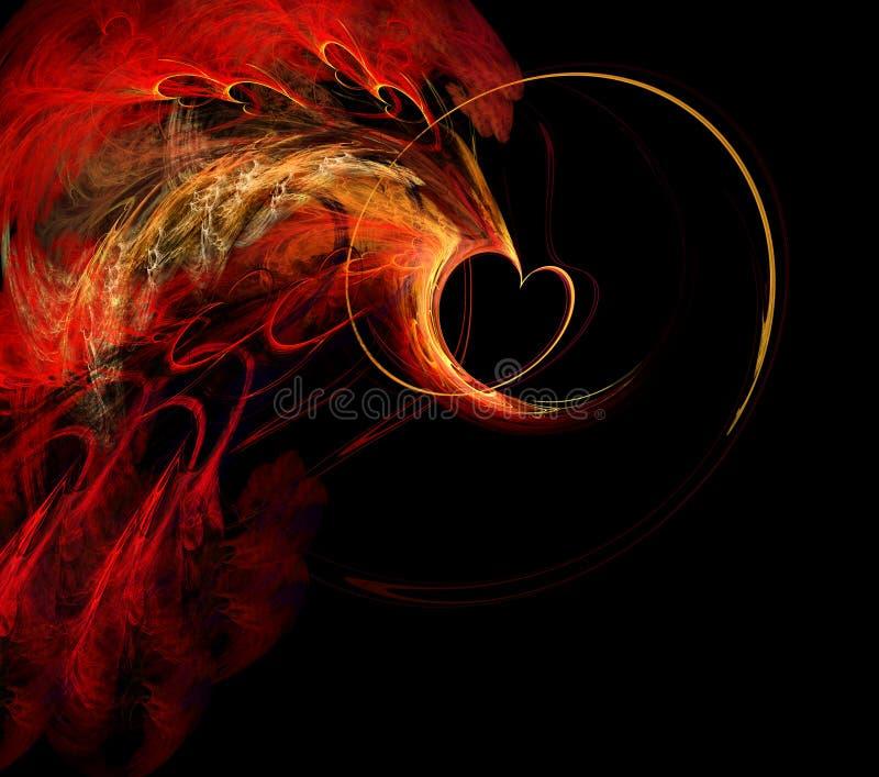 Coração flamejante do Fractal ilustração royalty free