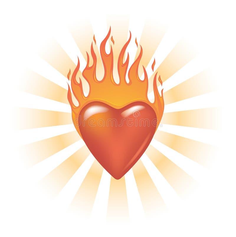 Coração flamejante Glassy ilustração stock