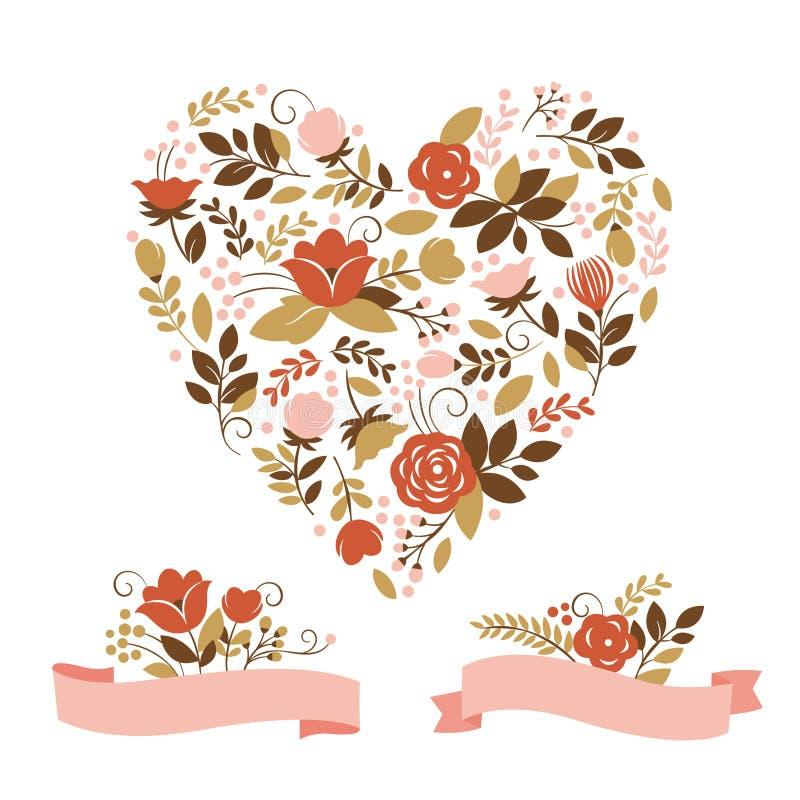 Coração floral ilustração stock