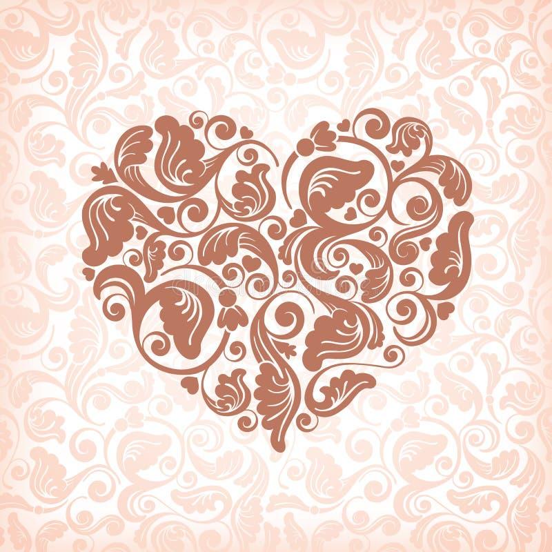 Coração floral abstrato ilustração stock