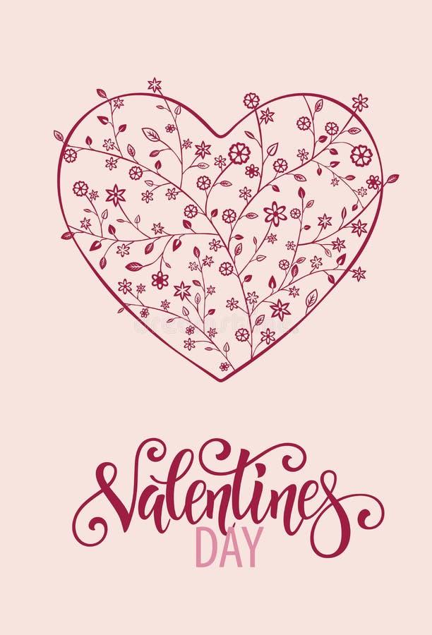 Coração floral bonito com rotulação Cartão do Valentim ilustração do vetor