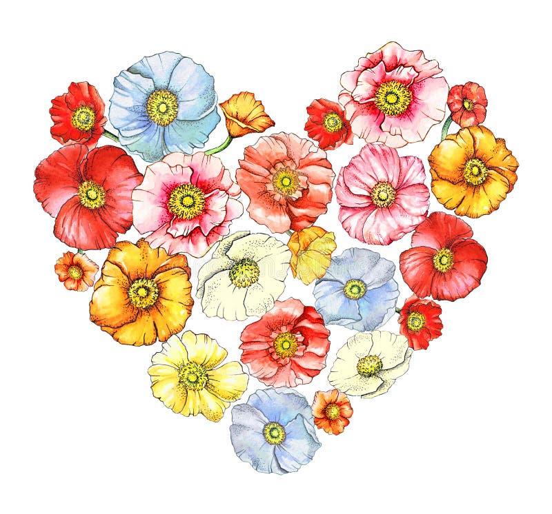 Coração floral com papoilas da aquarela ilustração stock