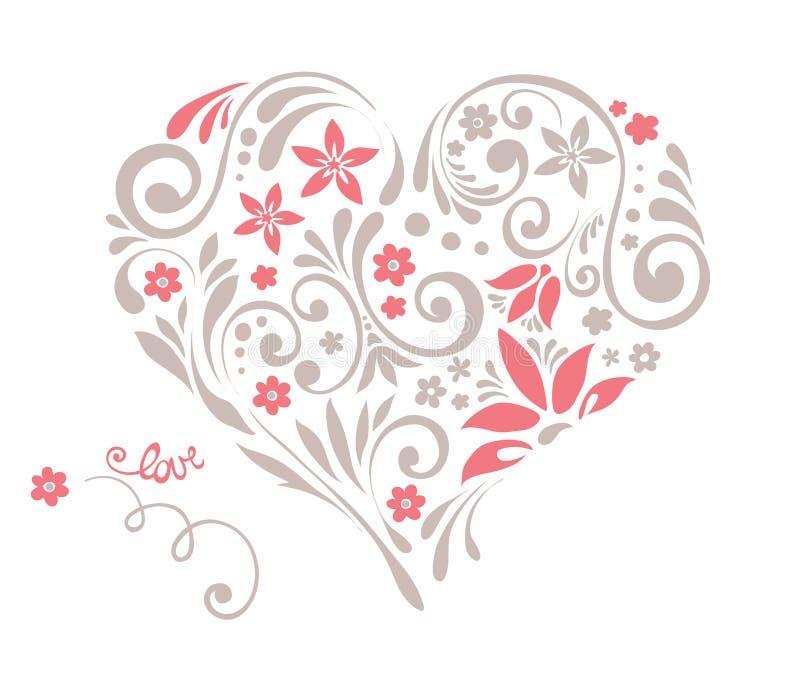 Coração floral com redemoinhos ilustração royalty free