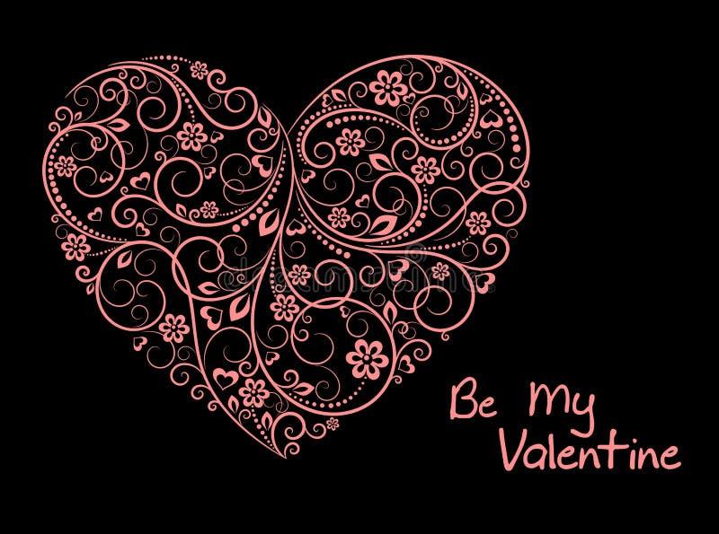 Coração floral cor-de-rosa ilustração do vetor