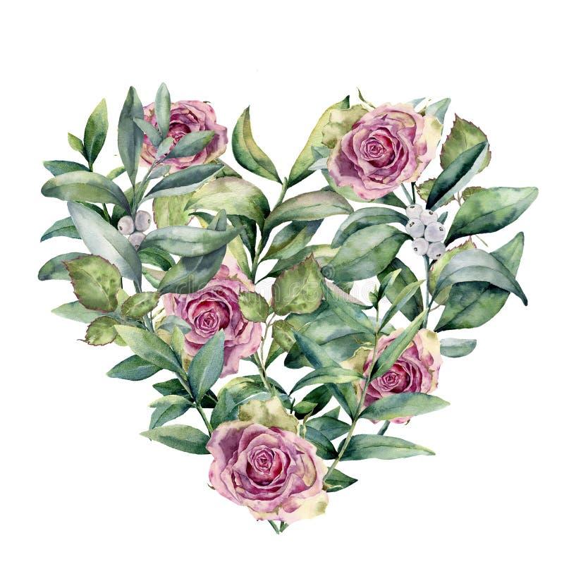 Coração floral da aquarela com eucalipto e rosas O eucalipto pintado à mão ramifica com folhas, flores cor-de-rosa isoladas ilustração royalty free