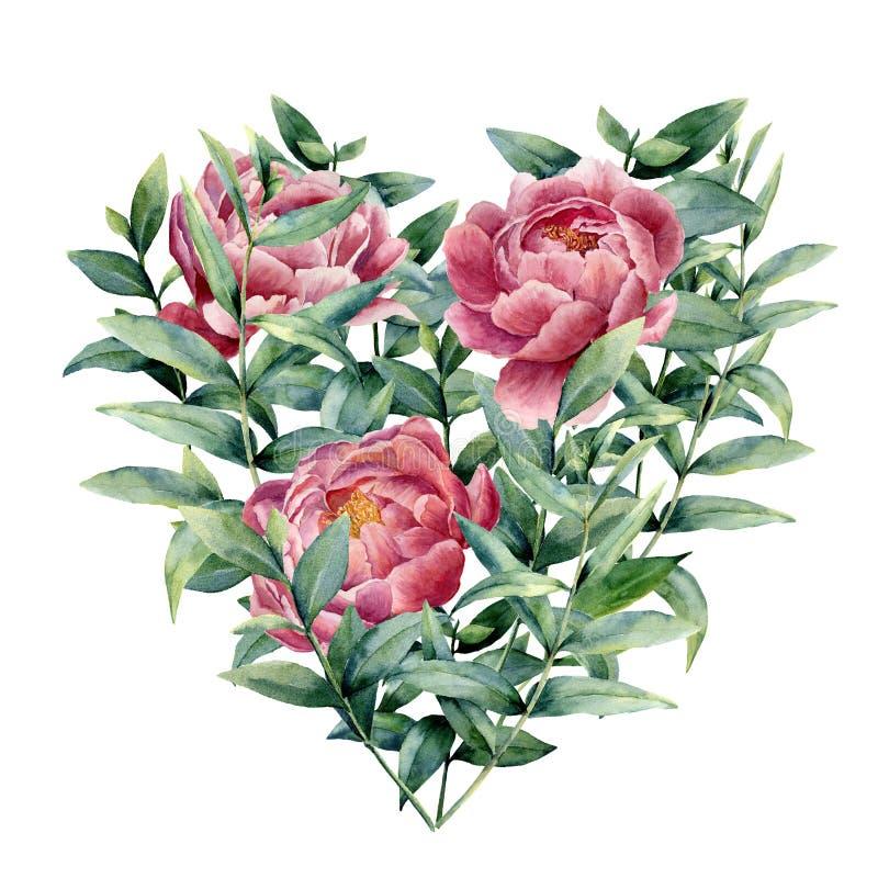 Coração floral da aquarela com peônia e eucalipto O eucalipto pintado à mão ramifica com folhas, flores isoladas sobre ilustração do vetor